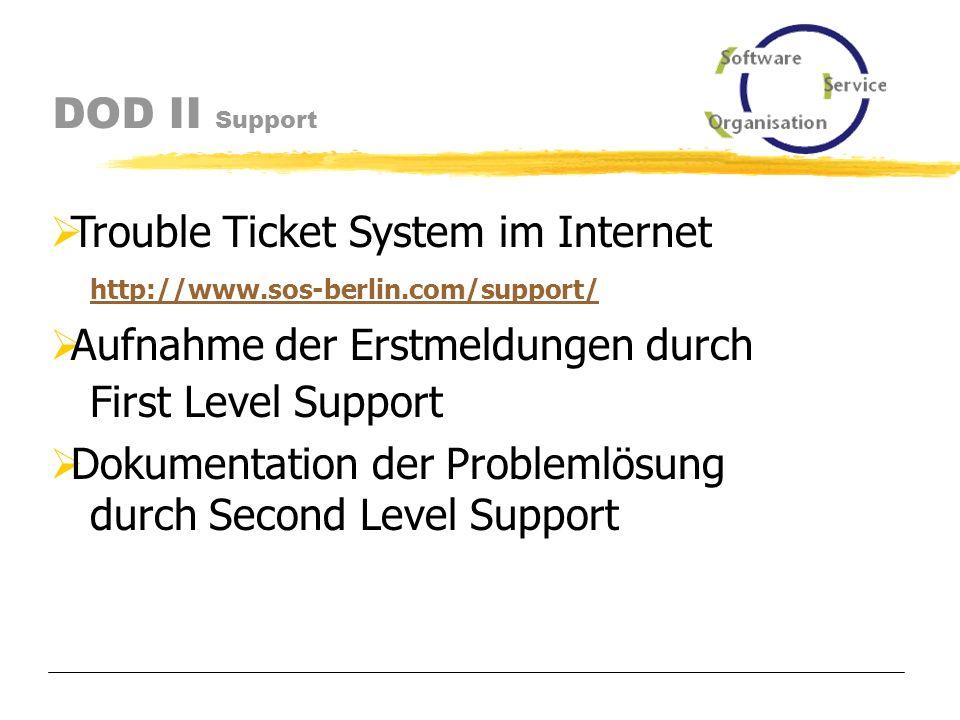 DOD II Support First Level Support (subito, sos) - Einführungsunterstützung nach Inbetriebnahme durch SOS - zentraler Support-Ansprechpartner bei subito Second Level Support (sos) - Unterstützung bei Konfigurationsproblemen - Erstmeldung des First Level Support - Behebung von Fehlern - Reaktionszeit von 24 Stunden bis zur Aufnahme der Fehlerbehebung