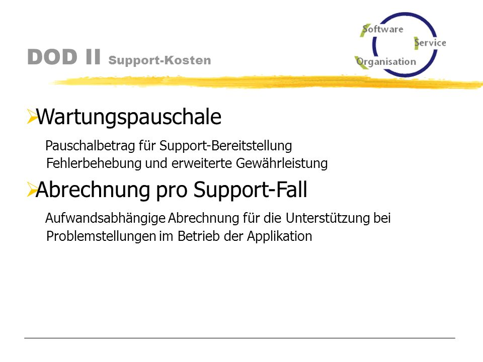 DOD II Support Trouble Ticket System im Internet http://www.sos-berlin.com/support/ http://www.sos-berlin.com/support/ Aufnahme der Erstmeldungen durch First Level Support Dokumentation der Problemlösung durch Second Level Support