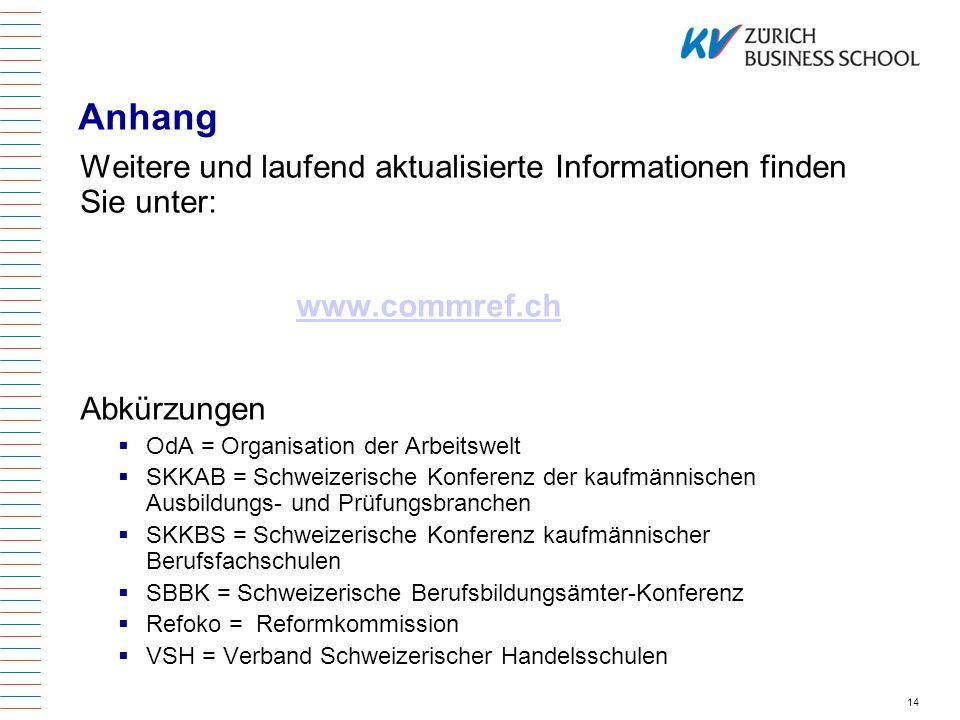14 Anhang Weitere und laufend aktualisierte Informationen finden Sie unter: www.commref.ch Abkürzungen OdA = Organisation der Arbeitswelt SKKAB = Schw