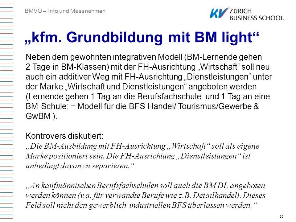 20 kfm. Grundbildung mit BM light BMVO – Info und Massnahmen Neben dem gewohnten integrativen Modell (BM-Lernende gehen 2 Tage in BM-Klassen) mit der