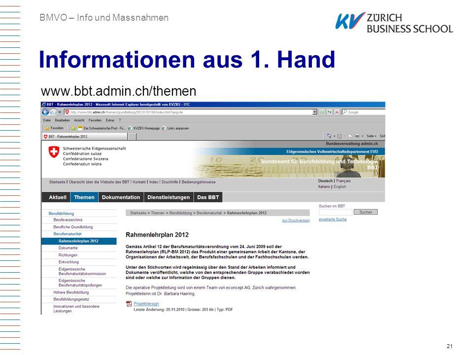 21 Informationen aus 1. Hand BMVO – Info und Massnahmen www.bbt.admin.ch/themen