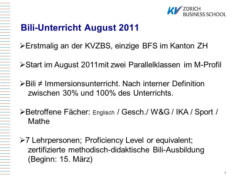 Bili-Unterricht August 2011 4 QV / EFZ .
