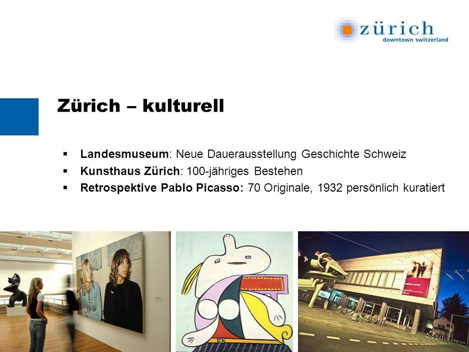Zürich – kulturell Landesmuseum: Neue Dauerausstellung Geschichte Schweiz Kunsthaus Zürich: 100-jähriges Bestehen Retrospektive Pablo Picasso: 70 Originale, 1932 persönlich kuratiert