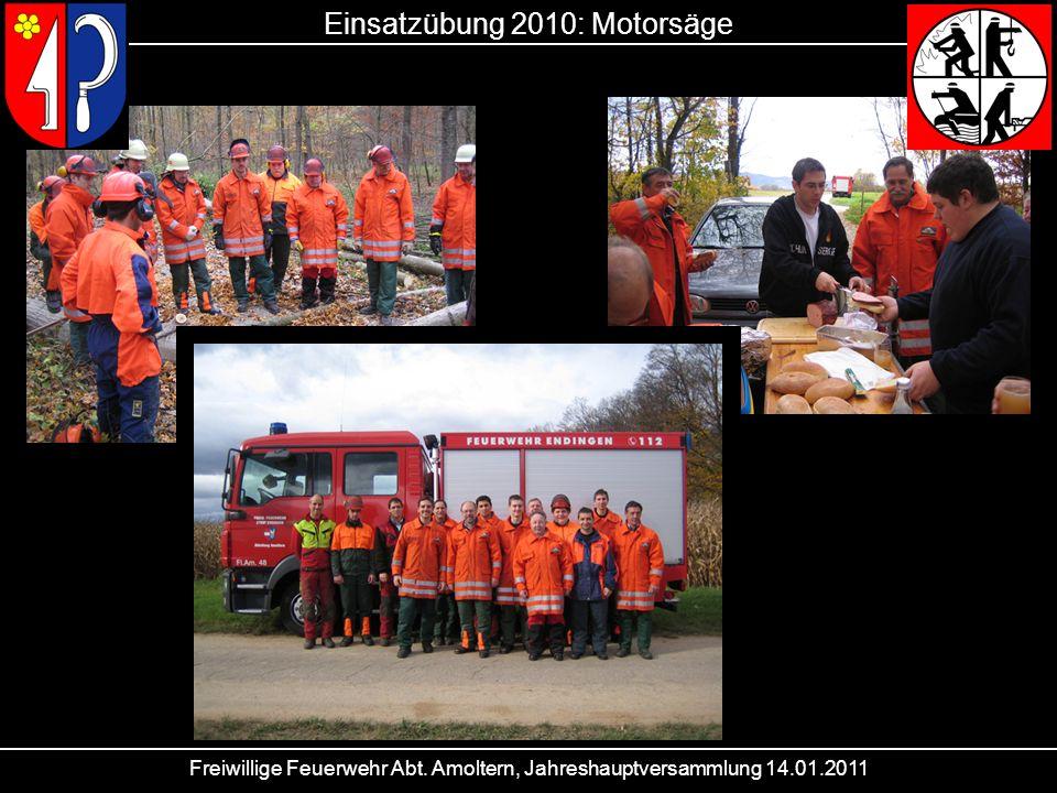 Freiwillige Feuerwehr Abt. Amoltern, Jahreshauptversammlung 14.01.2011 Einsatzübung 2010: Motorsäge