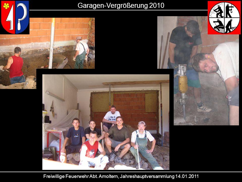 Freiwillige Feuerwehr Abt. Amoltern, Jahreshauptversammlung 14.01.2011 Garagen-Vergrößerung 2010