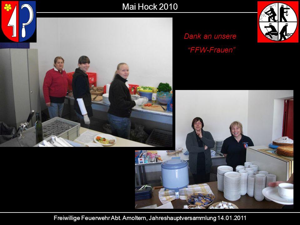 Freiwillige Feuerwehr Abt. Amoltern, Jahreshauptversammlung 14.01.2011 Mai Hock 2010 Dank an unsere FFW-Frauen