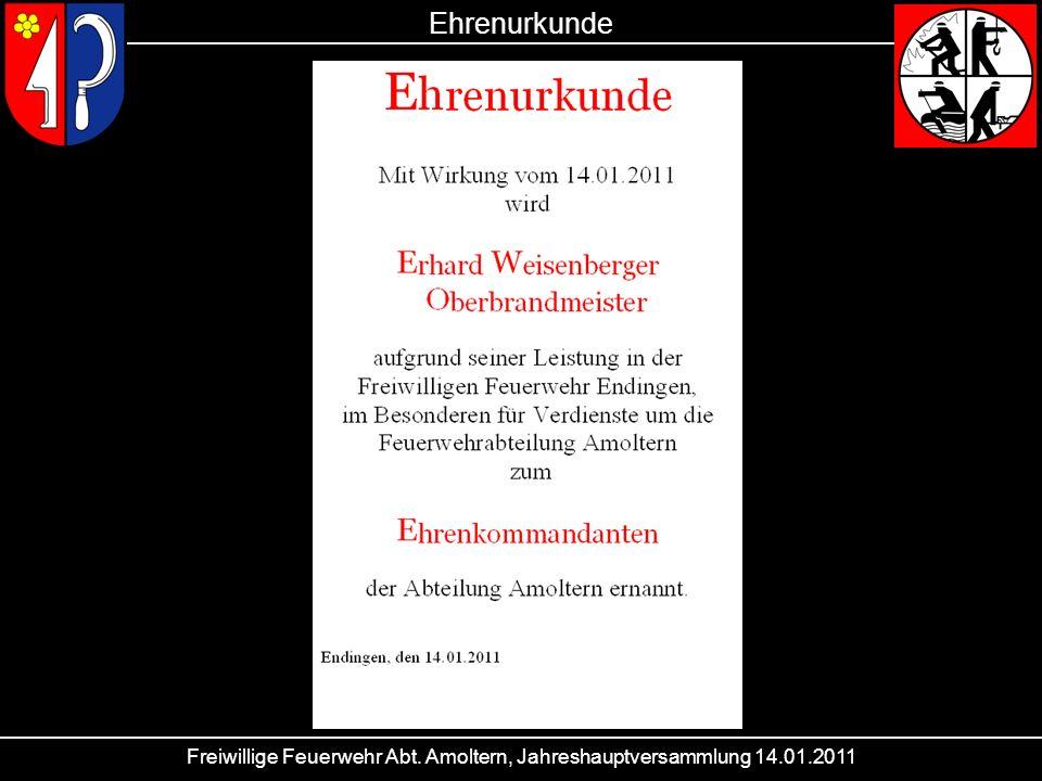Freiwillige Feuerwehr Abt. Amoltern, Jahreshauptversammlung 14.01.2011 Ehrenurkunde