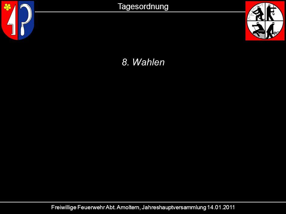 Freiwillige Feuerwehr Abt. Amoltern, Jahreshauptversammlung 14.01.2011 Tagesordnung 8. Wahlen
