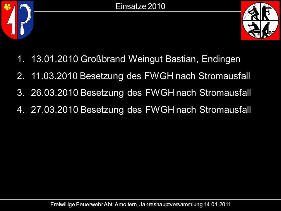 Freiwillige Feuerwehr Abt. Amoltern, Jahreshauptversammlung 14.01.2011 Einsätze 2010 1.13.01.2010 Großbrand Weingut Bastian, Endingen 2.11.03.2010 Bes
