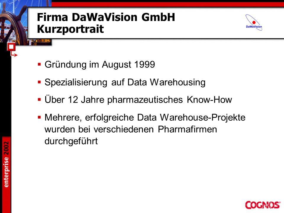 Firma DaWaVision GmbH Kurzportrait Gründung im August 1999 Spezialisierung auf Data Warehousing Über 12 Jahre pharmazeutisches Know-How Mehrere, erfol