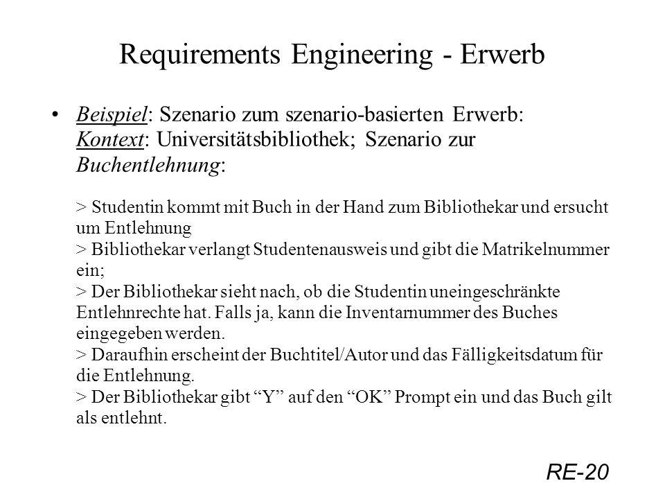 RE-20 Requirements Engineering - Erwerb Beispiel: Szenario zum szenario-basierten Erwerb: Kontext: Universitätsbibliothek; Szenario zur Buchentlehnung
