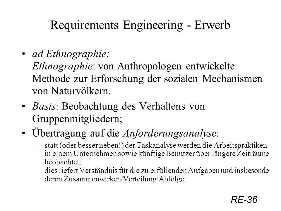 RE-36 Requirements Engineering - Erwerb ad Ethnographie: Ethnographie: von Anthropologen entwickelte Methode zur Erforschung der sozialen Mechanismen
