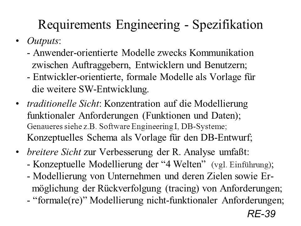 RE-39 Requirements Engineering - Spezifikation Outputs: - Anwender-orientierte Modelle zwecks Kommunikation zwischen Auftraggebern, Entwicklern und Be