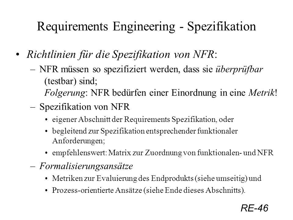 RE-46 Requirements Engineering - Spezifikation Richtlinien für die Spezifikation von NFR: –NFR müssen so spezifiziert werden, dass sie überprüfbar (te