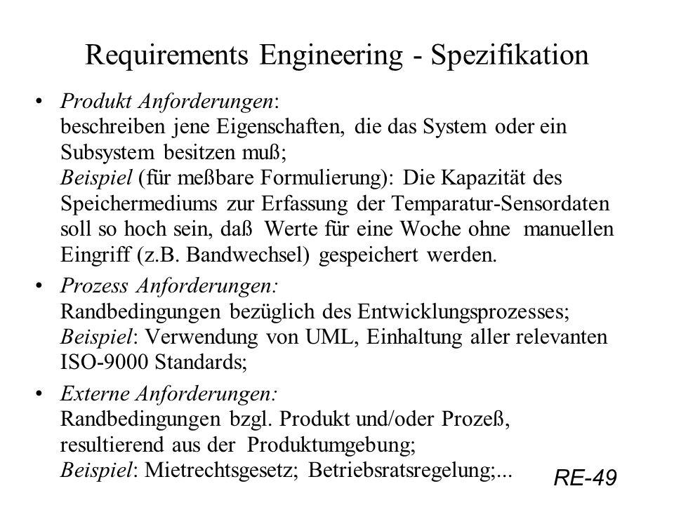 RE-49 Requirements Engineering - Spezifikation Produkt Anforderungen: beschreiben jene Eigenschaften, die das System oder ein Subsystem besitzen muß;