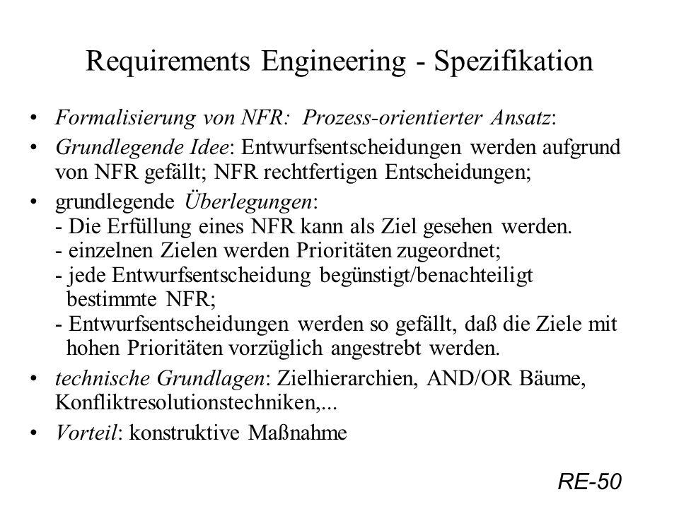 RE-50 Requirements Engineering - Spezifikation Formalisierung von NFR: Prozess-orientierter Ansatz: Grundlegende Idee: Entwurfsentscheidungen werden a