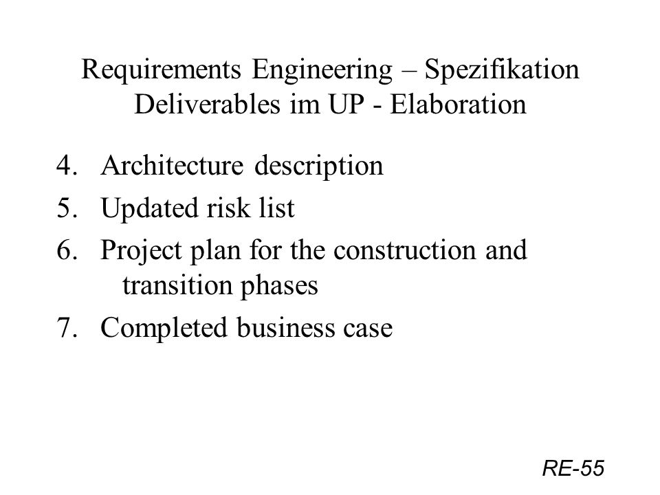RE-55 Requirements Engineering – Spezifikation Deliverables im UP - Elaboration 4. Architecture description 5. Updated risk list 6. Project plan for t