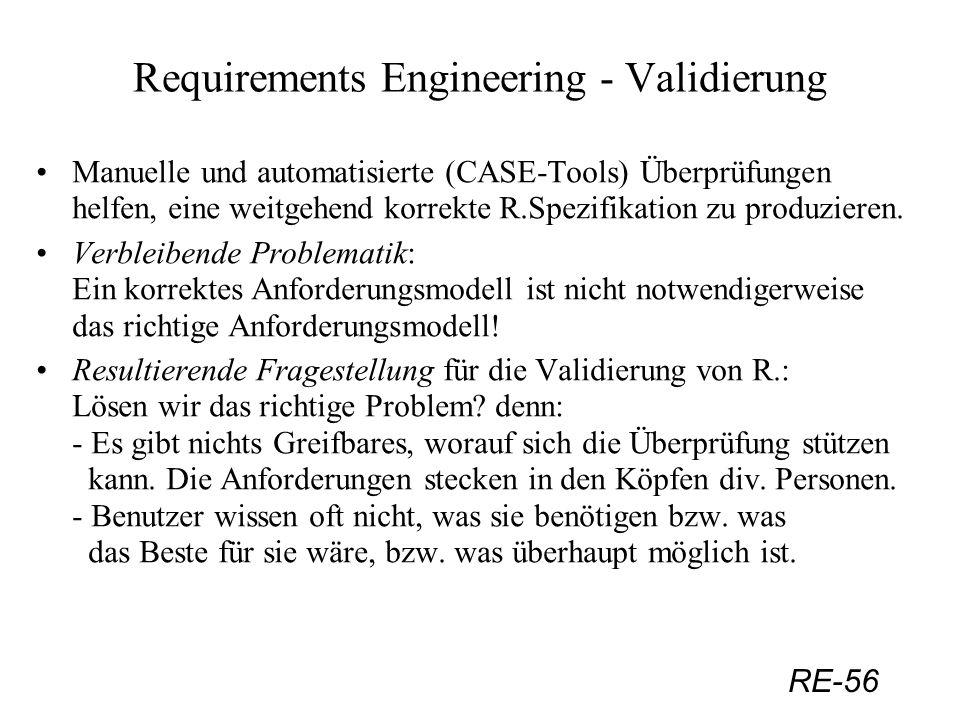RE-56 Requirements Engineering - Validierung Manuelle und automatisierte (CASE-Tools) Überprüfungen helfen, eine weitgehend korrekte R.Spezifikation z