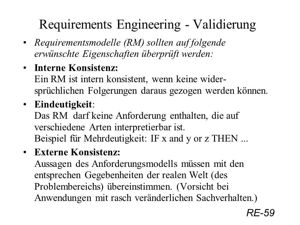 RE-59 Requirements Engineering - Validierung Requirementsmodelle (RM) sollten auf folgende erwünschte Eigenschaften überprüft werden: Interne Konsiste