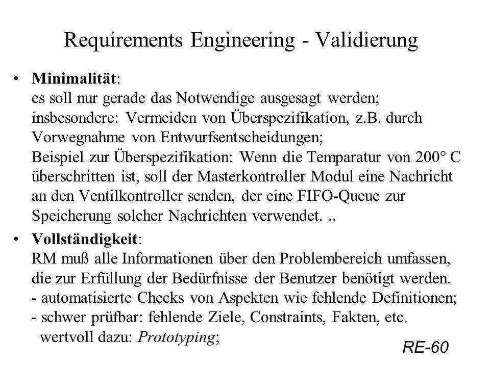 RE-60 Requirements Engineering - Validierung Minimalität: es soll nur gerade das Notwendige ausgesagt werden; insbesondere: Vermeiden von Überspezifik