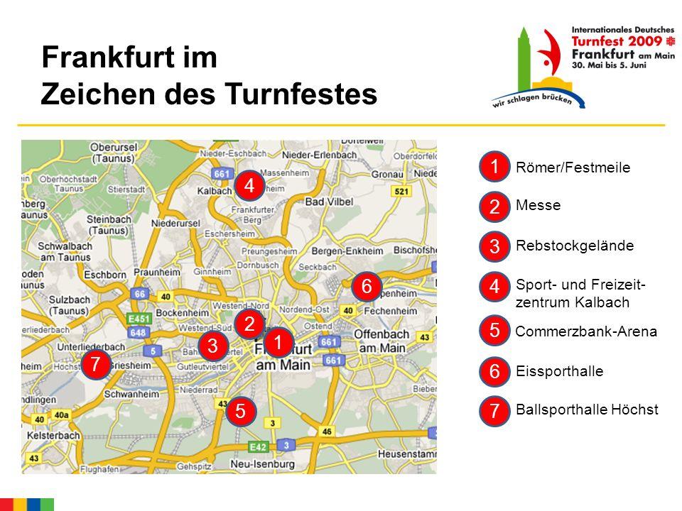 Frankfurt im Zeichen des Turnfestes 3 Rebstockgelände 2 Messe 7 Ballsporthalle Höchst 1 Römer/Festmeile 6 Eissporthalle 4 Sport- und Freizeit- zentrum Kalbach 4 7 6 2 3 5 5 1 Commerzbank-Arena