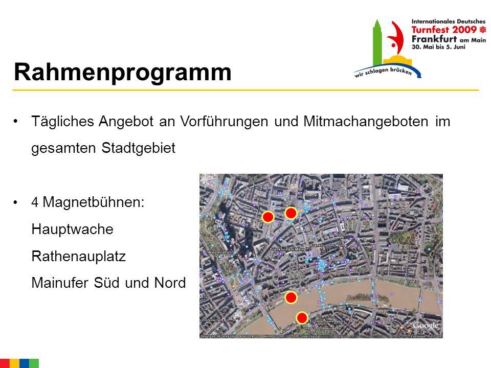 Rahmenprogramm Tägliches Angebot an Vorführungen und Mitmachangeboten im gesamten Stadtgebiet 4 Magnetbühnen: Hauptwache Rathenauplatz Mainufer Süd und Nord