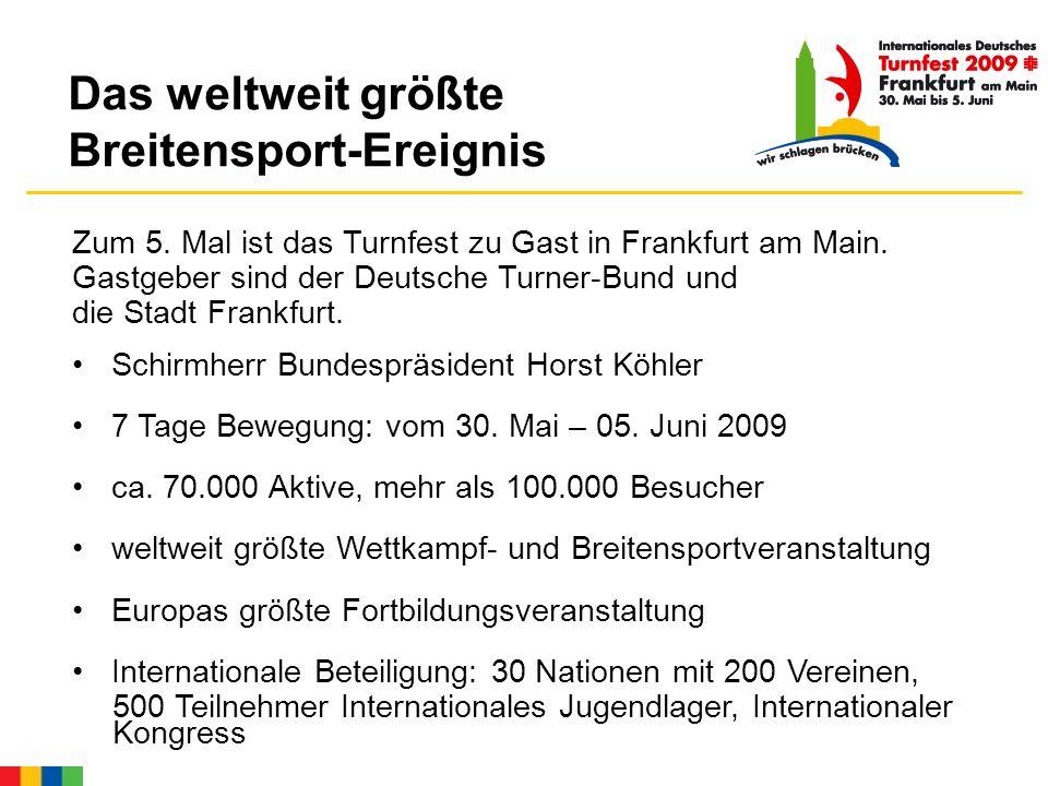 Das Turnfest umfasst: Gerätturnen, Rhythmische Sportgymnastik, Trampolin- und Rhönradturnen, Turnspiele viele andere Sportbereiche, wie z.B.