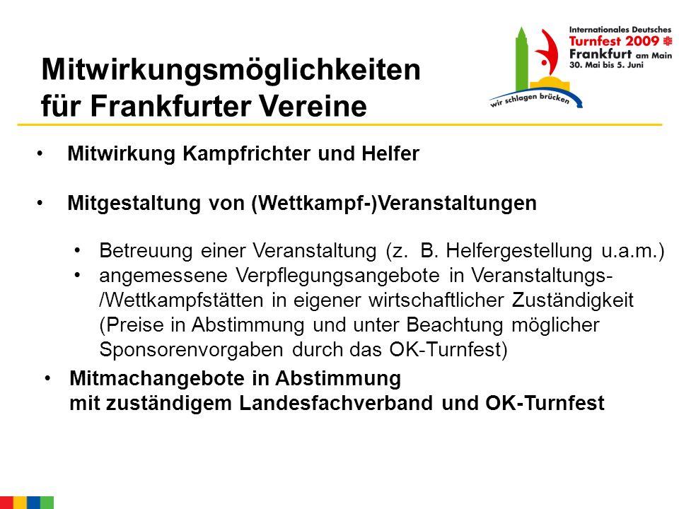 Mitwirkungsmöglichkeiten für Frankfurter Vereine Mitwirkung Kampfrichter und Helfer Mitgestaltung von (Wettkampf-)Veranstaltungen Betreuung einer Veranstaltung (z.
