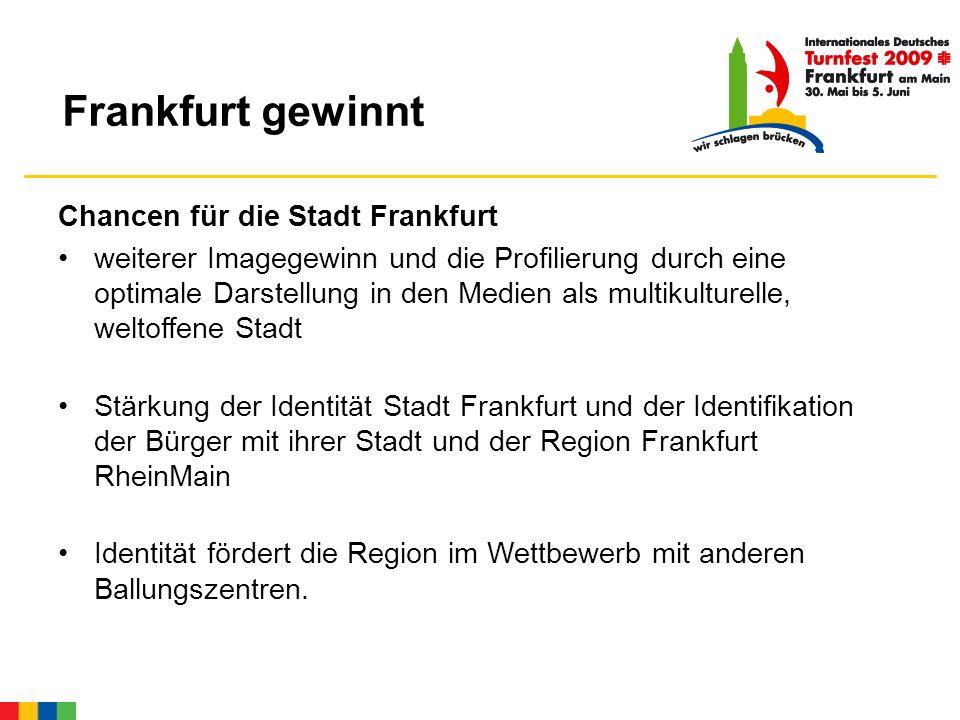 Chancen für die Stadt Frankfurt weiterer Imagegewinn und die Profilierung durch eine optimale Darstellung in den Medien als multikulturelle, weltoffene Stadt Stärkung der Identität Stadt Frankfurt und der Identifikation der Bürger mit ihrer Stadt und der Region Frankfurt RheinMain Identität fördert die Region im Wettbewerb mit anderen Ballungszentren.