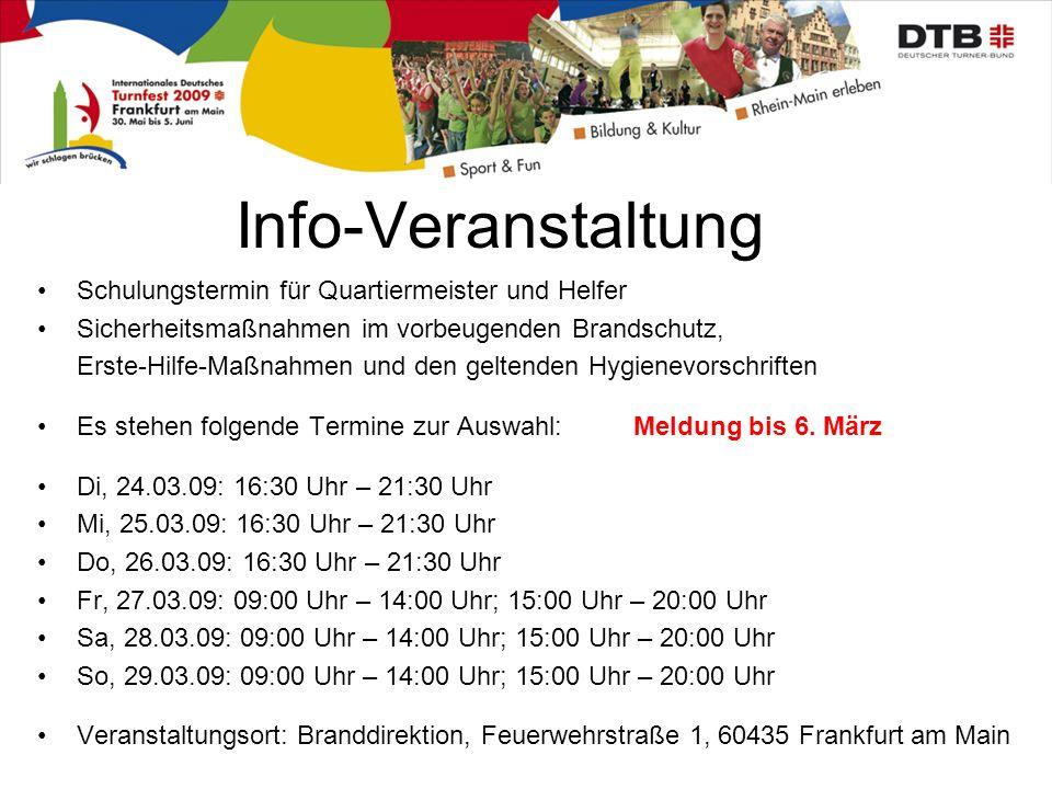 Tagesablauf 6.00 – 9.00 Uhr: Frühstück 9.00 – 18.00 Uhr: Wettkämpfe, Vorführungen, Messe, Turnfestmeile gegen 18.00 Uhr: Rückkehr zur Schule, Zurechtmachen gegen 19.00 Uhr:Showveranstaltung / buntes Treiben in Frankfurt gegen 22.30 Uhr:Wiedereintreffen in der Schule gegen 0.00 Uhr:Nachtruhe