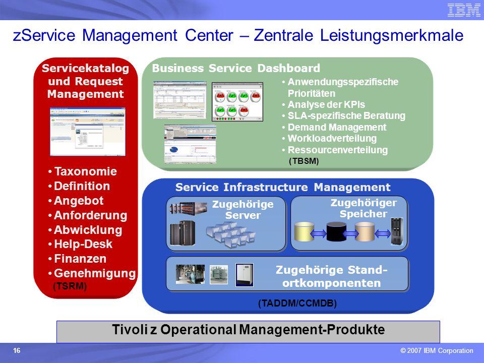 © 2007 IBM Corporation 16 zService Management Center – Zentrale Leistungsmerkmale Service Infrastructure Management Zugehörige Server Zugehöriger Spei