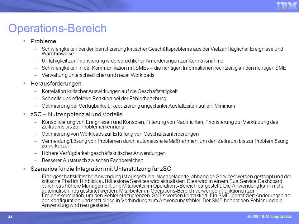 © 2007 IBM Corporation 22 Operations-Bereich Probleme –Schwierigkeiten bei der Identifizierung kritischer Geschäftsprobleme aus der Vielzahl täglicher