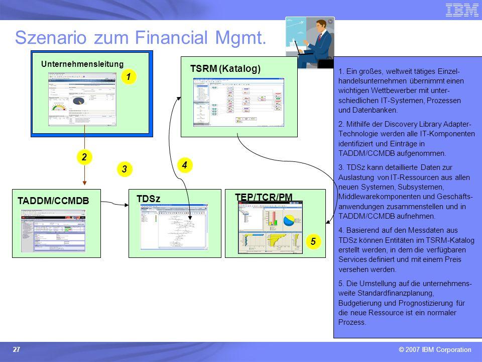 © 2007 IBM Corporation 27 Szenario zum Financial Mgmt. 1. Ein großes, weltweit tätiges Einzel- handelsunternehmen übernimmt einen wichtigen Wettbewerb
