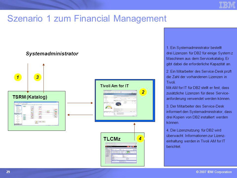 © 2007 IBM Corporation 29 Szenario 1 zum Financial Management TSRM (Katalog) 1. Ein Systemadministrator bestellt drei Lizenzen für DB2 für einige Syst