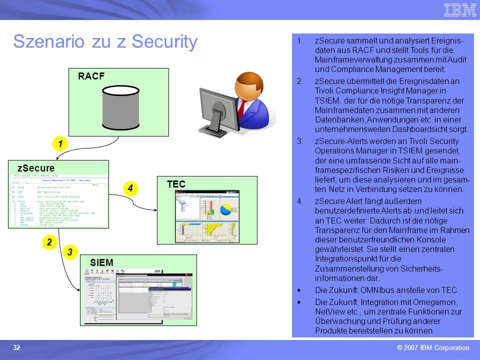 © 2007 IBM Corporation 32 Szenario zu z Security TEC zSecure SIEM RACF 1.zSecure sammelt und analysiert Ereignis- daten aus RACF und stellt Tools für