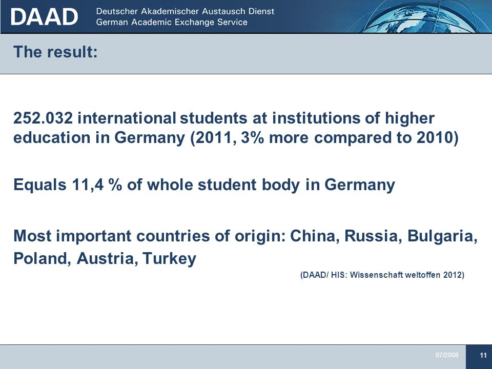 11 07/2008 The result: 252.032 international students at institutions of higher education in Germany (2011, 3% more compared to 2010) Equals 11,4 % of