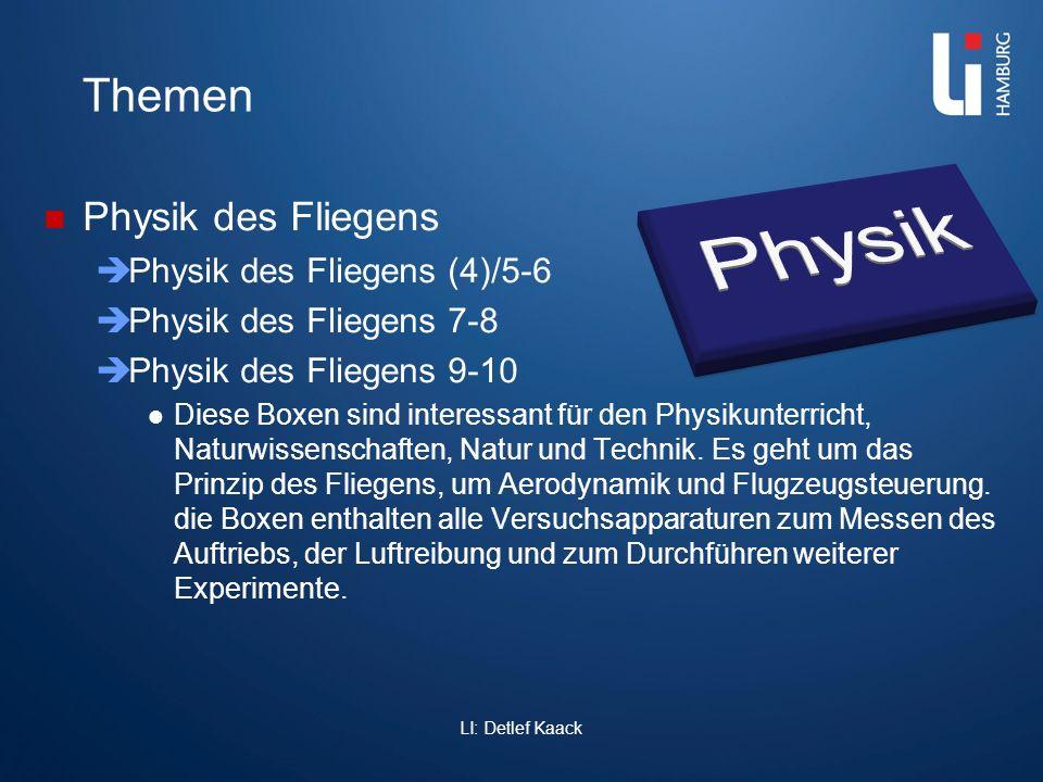 LI: Detlef Kaack Themen Physik des Fliegens Physik des Fliegens (4)/5-6 Physik des Fliegens 7-8 Physik des Fliegens 9-10 Diese Boxen sind interessant
