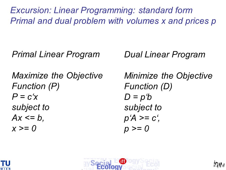 Excursion: Linear Programming: standard form Primal and dual problem with volumes x and prices p Primal Linear Program Maximize the Objective Function (P) P = cx subject to Ax <= b, x >= 0 Dual Linear Program Minimize the Objective Function (D) D = pb subject to pA >= c, p >= 0