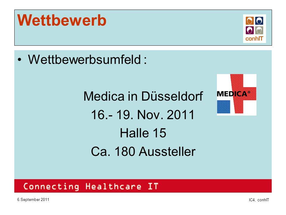 6.September 2011 IC4, conhIT Wettbewerb Wettbewerbsumfeld : Medica in Düsseldorf 16.- 19.