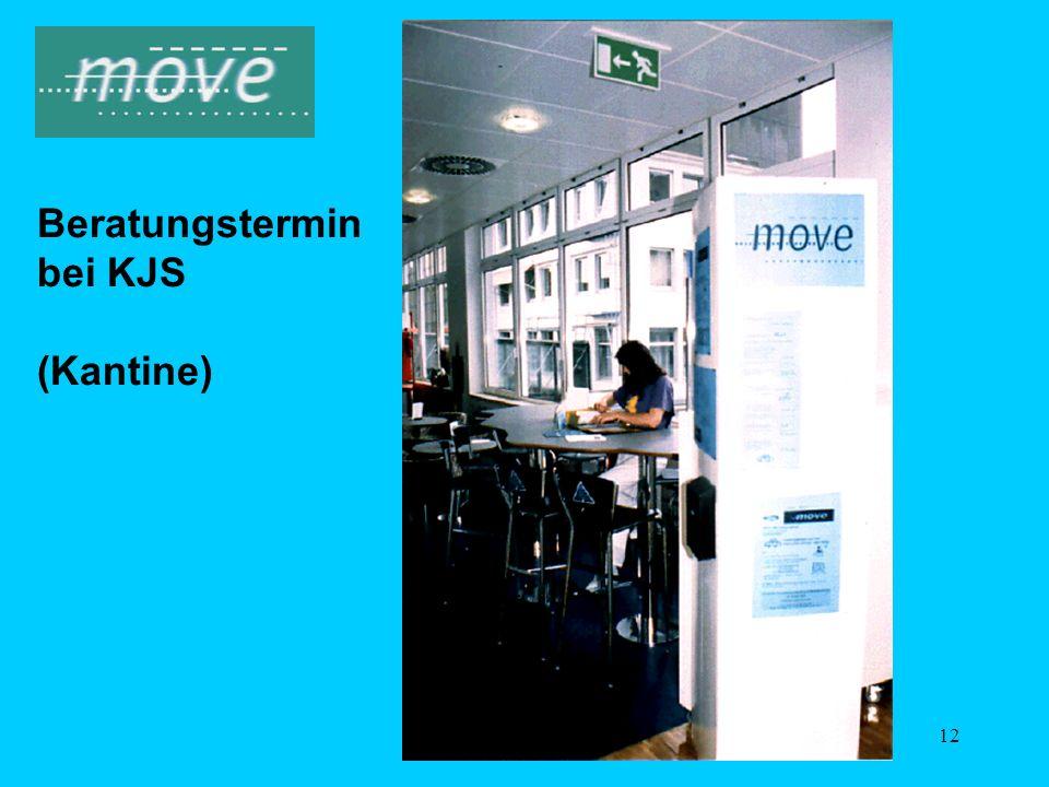 11 Das move-Serviceangebot (bei KJS) 1Informations- u. Motivationskampagnen 2Einführung Job-Ticket für alle Mitarbeiter 3Ausgabe persönlicher Fahrplän