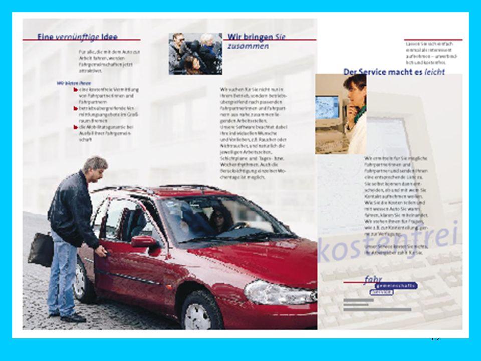 18... sichert ab Mobilitätsgarantie Fahrgemeinschafts- service Betriebsakquisition (überbetriebl.) Werbung für die Dienstleistung Fahrgemeinschaftsver