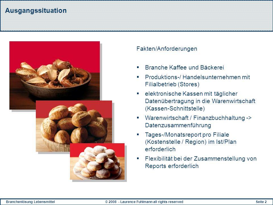 Branchenlösung Lebensmittel© 2008 - Laurence Fuhlmann all rights reservedSeite 2 Ausgangssituation Fakten/Anforderungen Branche Kaffee und Bäckerei Pr
