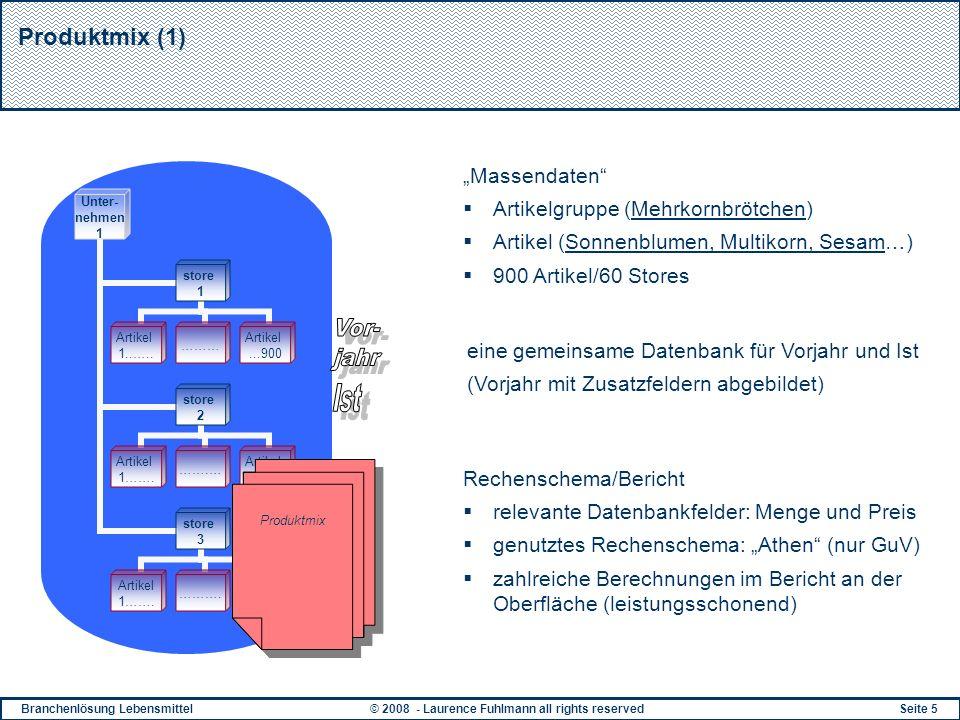 Branchenlösung Lebensmittel© 2008 - Laurence Fuhlmann all rights reservedSeite 5 Produktmix (1) Massendaten Artikelgruppe (Mehrkornbrötchen) Artikel (