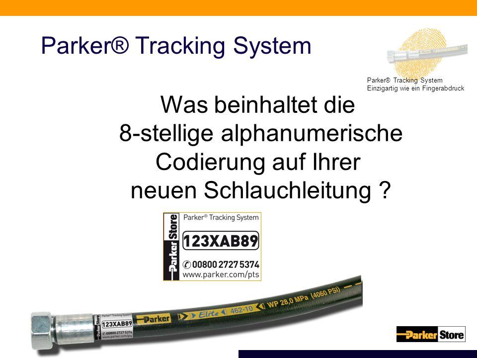 Parker® Tracking System Einzigartig wie ein Fingerabdruck Parker® Tracking System Was beinhaltet die 8-stellige alphanumerische Codierung auf Ihrer neuen Schlauchleitung