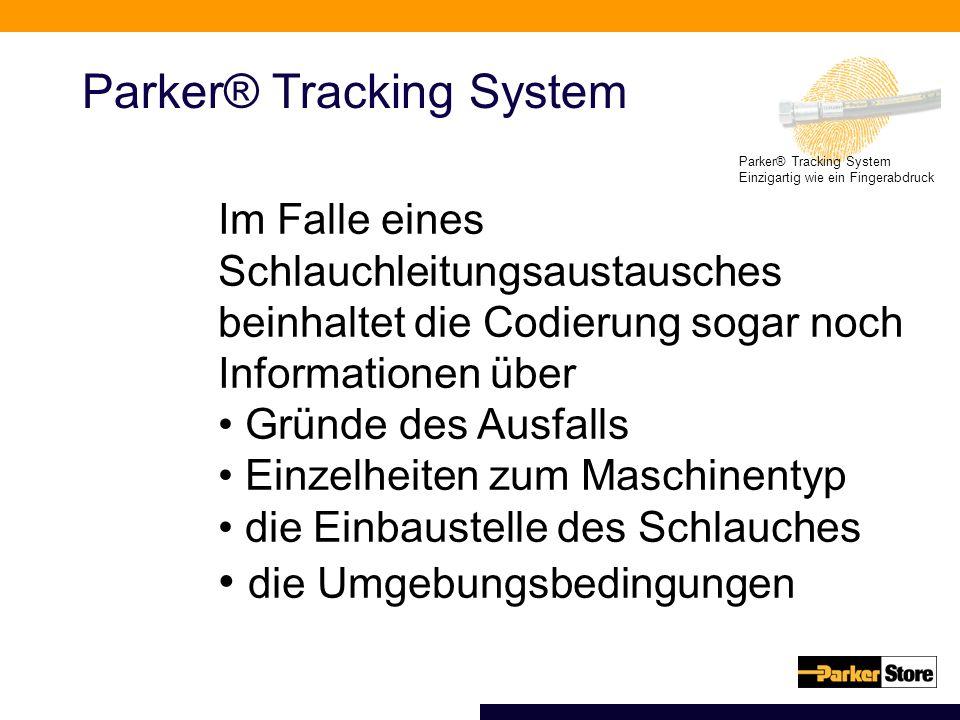 Parker® Tracking System Einzigartig wie ein Fingerabdruck Parker® Tracking System Im Falle eines Schlauchleitungsaustausches beinhaltet die Codierung sogar noch Informationen über Gründe des Ausfalls Einzelheiten zum Maschinentyp die Einbaustelle des Schlauches die Umgebungsbedingungen