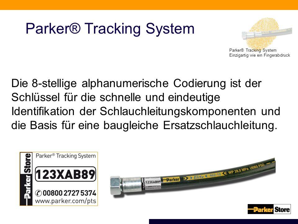Parker® Tracking System Einzigartig wie ein Fingerabdruck Parker® Tracking System Die 8-stellige alphanumerische Codierung ist der Schlüssel für die schnelle und eindeutige Identifikation der Schlauchleitungskomponenten und die Basis für eine baugleiche Ersatzschlauchleitung.