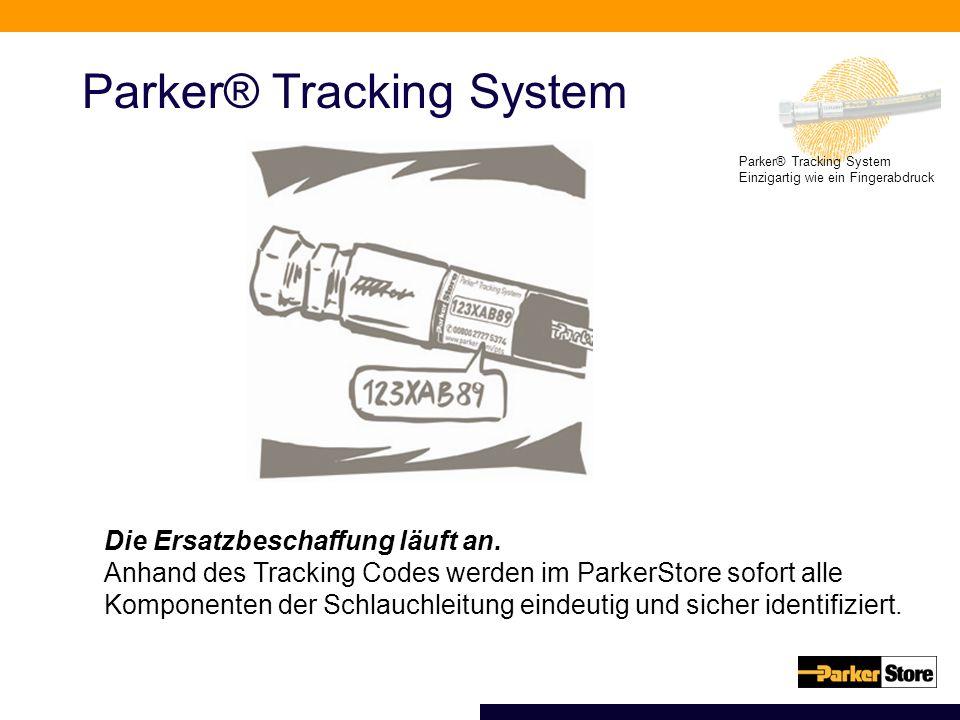 Parker® Tracking System Einzigartig wie ein Fingerabdruck Parker® Tracking System Die Ersatzbeschaffung läuft an. Anhand des Tracking Codes werden im
