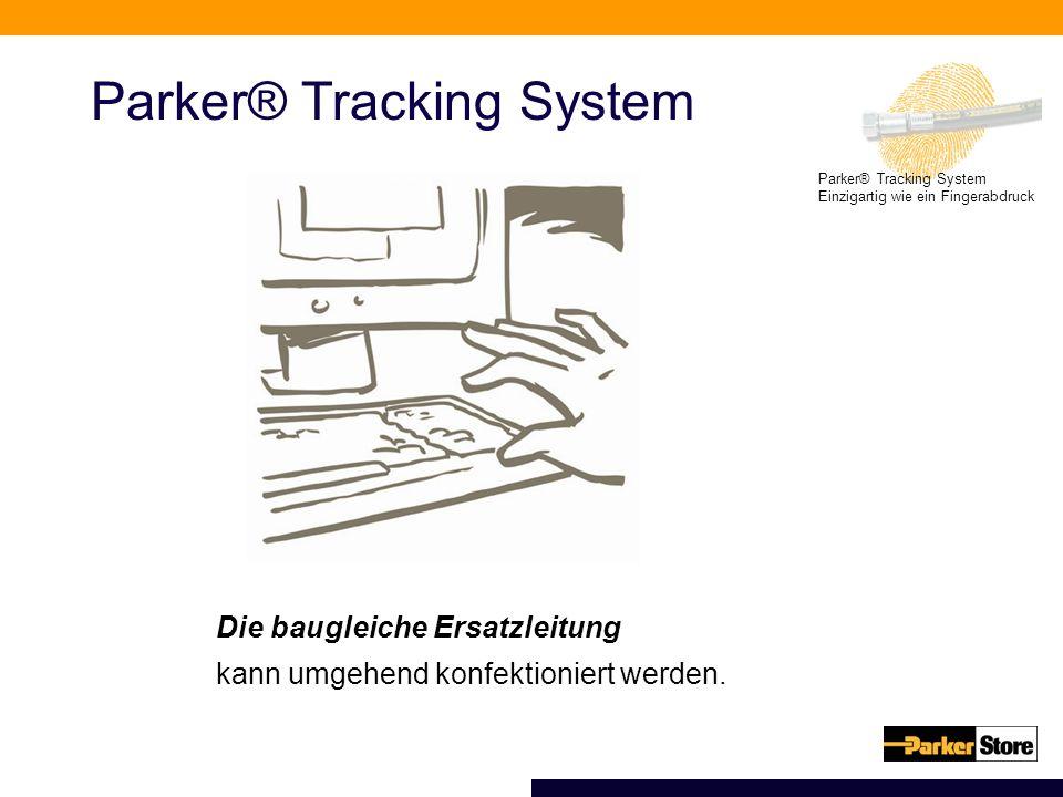Parker® Tracking System Einzigartig wie ein Fingerabdruck Parker® Tracking System Die baugleiche Ersatzleitung kann umgehend konfektioniert werden.