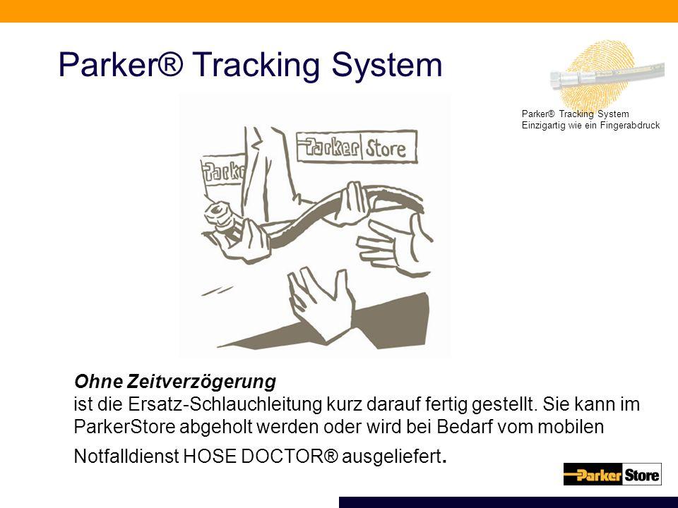Parker® Tracking System Einzigartig wie ein Fingerabdruck Parker® Tracking System Ohne Zeitverzögerung ist die Ersatz-Schlauchleitung kurz darauf fertig gestellt.