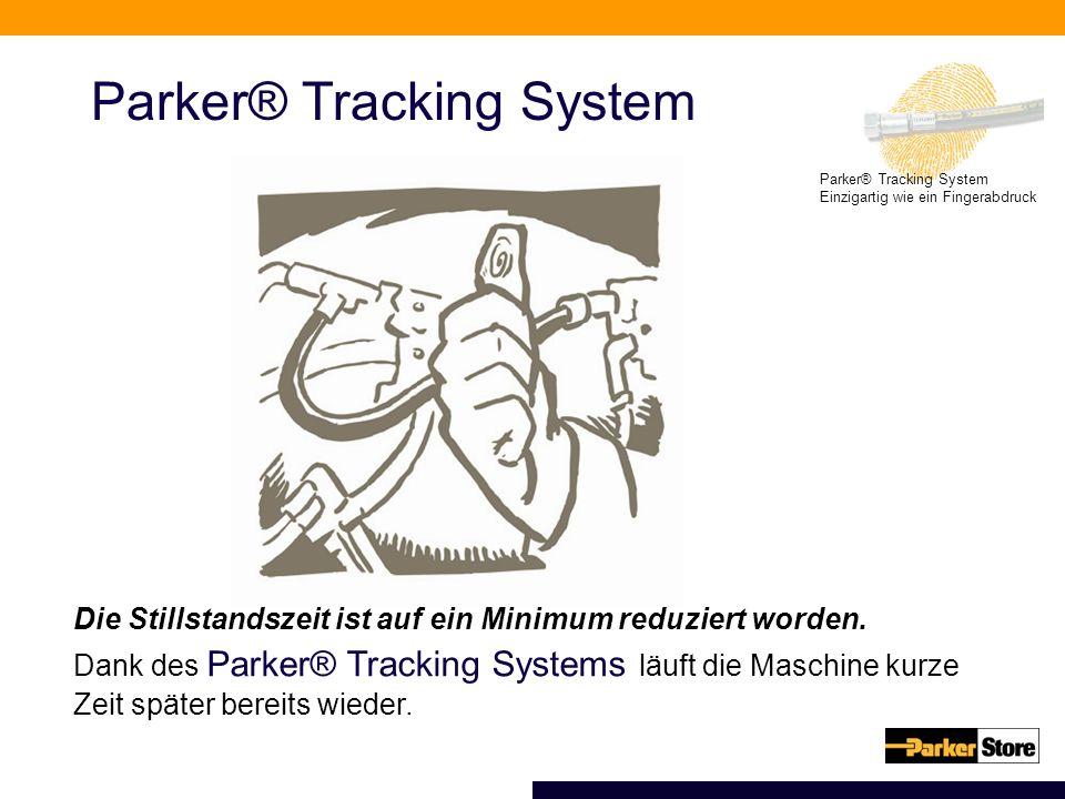 Parker® Tracking System Einzigartig wie ein Fingerabdruck Parker® Tracking System Die Stillstandszeit ist auf ein Minimum reduziert worden. Dank des P